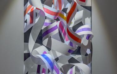 Color knots, медиаобъект, 120x86x30 cm, дисплей, ,бумага, смеш.тех