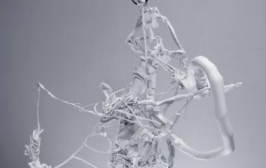 Каварга. Формообразование 3030. 2009. Полимеры Bayer MaterialSciene, матовая эмаль, цепь. 120x100x60